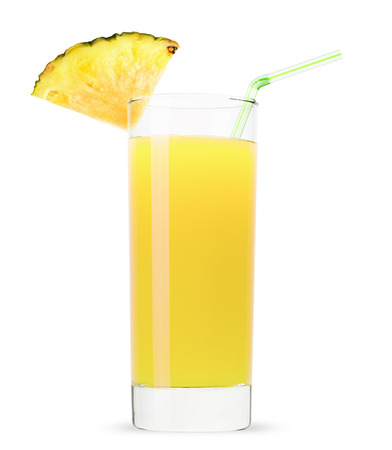 and pineapple juice: glass of pineapple juice isolated on white background.