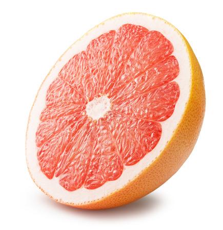 toronja: la mitad de pomelo aislado en el fondo blanco.