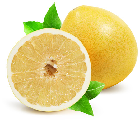 pomelo: pomelo with half of pomelo isolated on the white background. Stock Photo