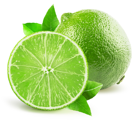 slice: lime with half of lime isolated on the white background.