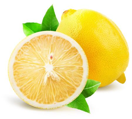 lemon with half of lemon isolated on the white background.