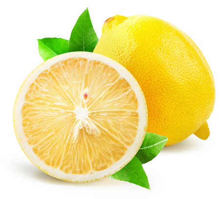 lemon slice: lemon with half of lemon isolated on the white background.