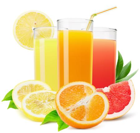 mix di succhi di frutta isolato su sfondo bianco.