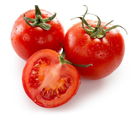 흰색 배경에 고립 토마토입니다.