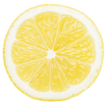 lemon slice isolated on the white background.