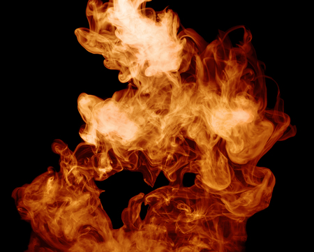 detonation: fire burst on a black background. Stock Photo
