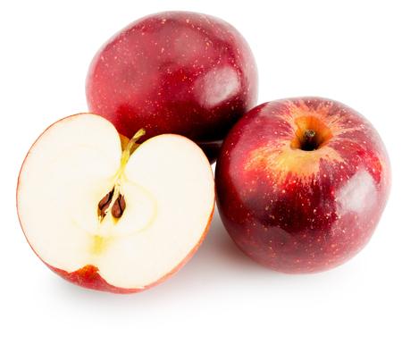 manzana roja: manzanas rojas aisladas en el fondo blanco. Foto de archivo