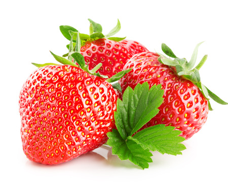 흰색 배경에 고립 된 딸기. 스톡 콘텐츠