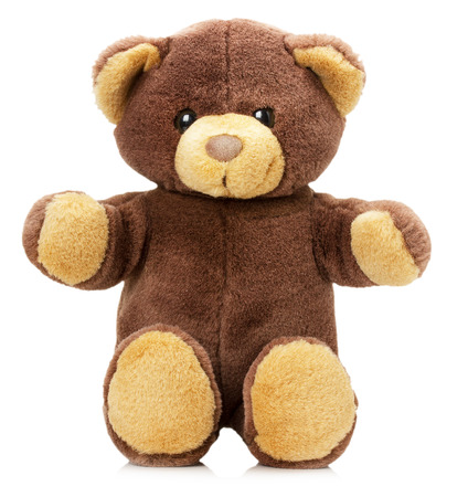 흰색 배경에 고립 된 장난감 곰.