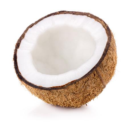 fruta tropical: Coco aislado en el fondo blanco.