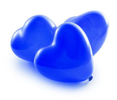 corazones azules: corazones del globo azul aislados en el fondo blanco.