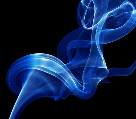 blue smoke on the black background.