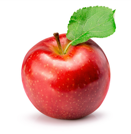 red apple isolated on the white background.