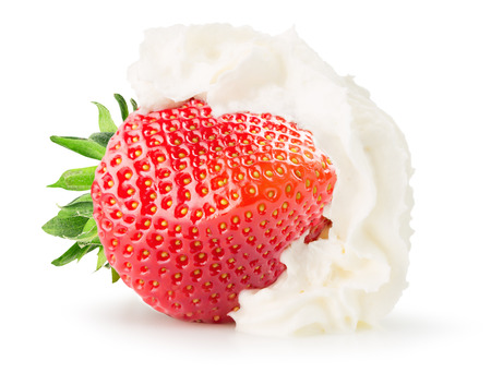 strawberry with whipped cream isolated on the white background. 版權商用圖片