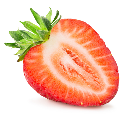 half of strawberry isolated on the white background.