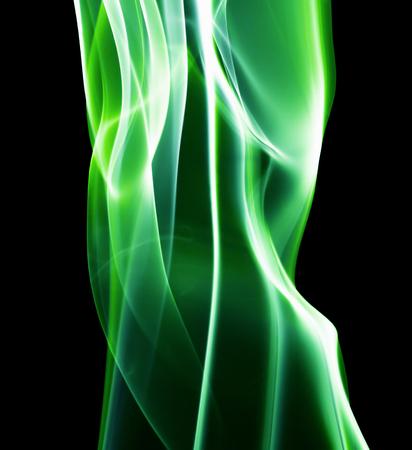 green smoke: green smoke lines on the black background.