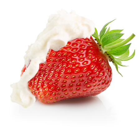 strawberry with whipped cream isolated on the white background. Stock Photo