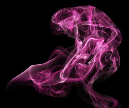 pink smoke on the black background.