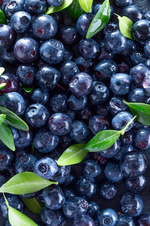 blueberries on a slate table.