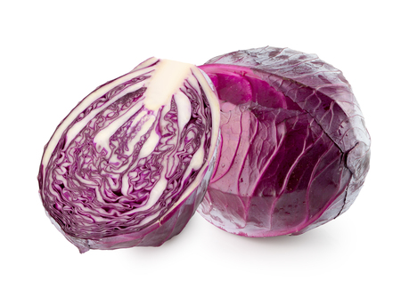 purple cabbage isolated on the white background.