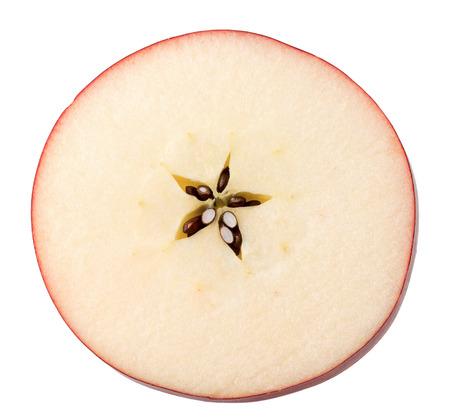 赤いリンゴのスライスは、白い背景で隔離。