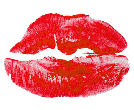 Red lips imprint isolated on white background. Stock Photo