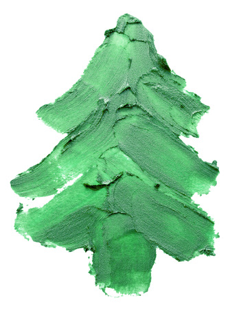Christmas tree of green paints stroke isolated on the white background.