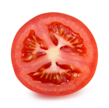 tomato slice isolated on the white background.