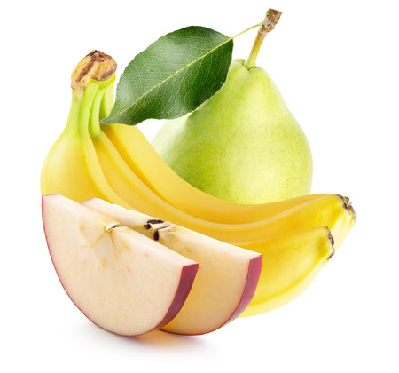 banana skin: apple slices, bananas and green pear  isolated on the white background.