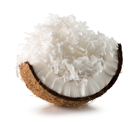 coconut with coconut flakes isolated on the white background.