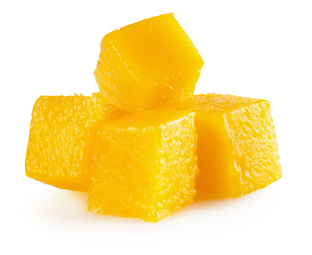 mango cube slices isolated on the white background.