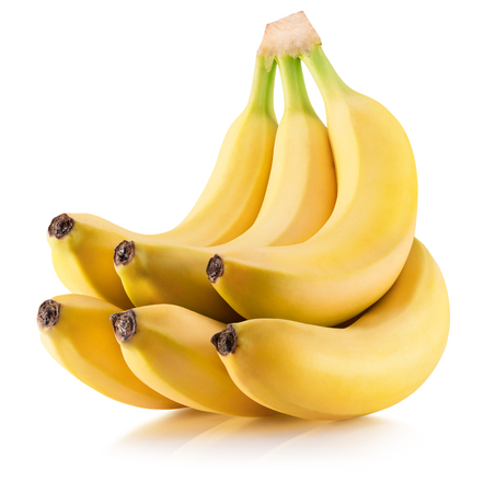 banana skin: bunch of bananas isolated on a white background. Stock Photo
