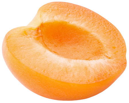 half of apricot isolated on a white background.