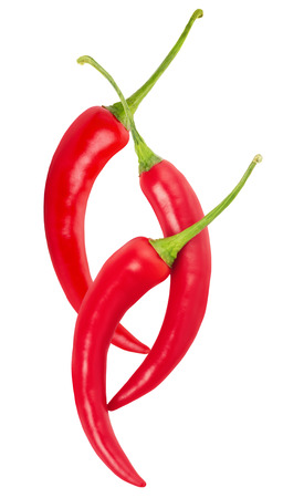 red chilli peppers isolated on a white background.
