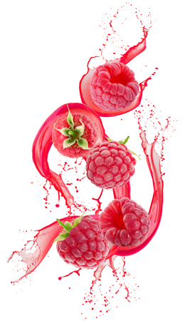 raspberries in juice splash isolated on a white background.