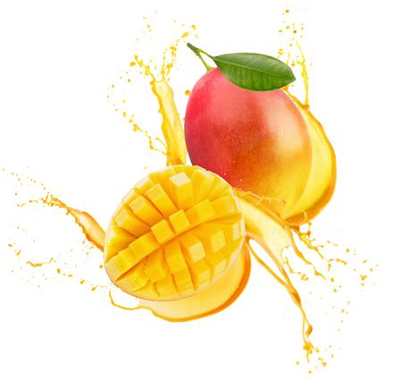 mango in juice splash isolated on a white background.
