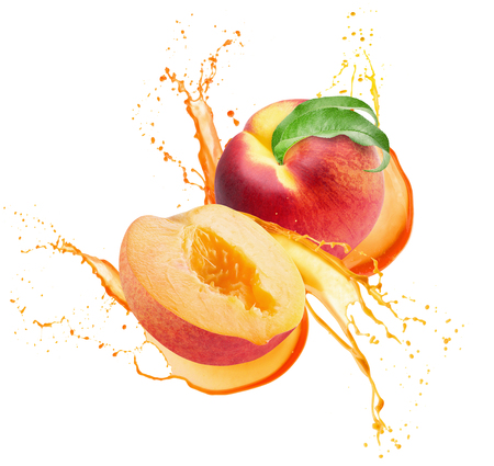 peaches in juice splash isolated on a white background.