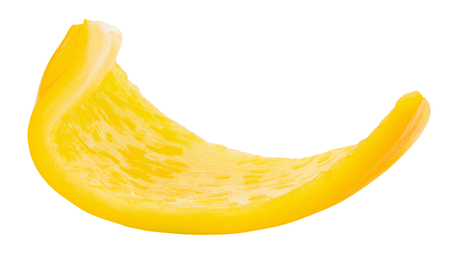 yellow pepper slice isolated on a white background.