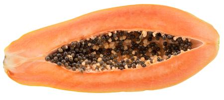 half of papaya isolated on a white background. 版權商用圖片