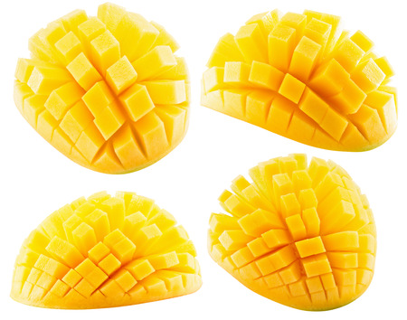 collection of mango slices isolated on a white background.