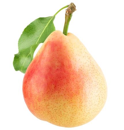 pera gialla isolata su uno sfondo bianco. Archivio Fotografico