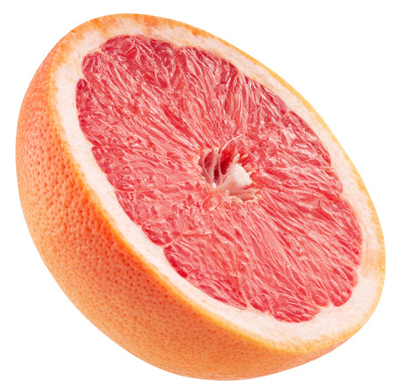 half of grapefruit isolated on a white background.