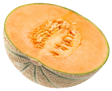 half of melon isolated on a white background.