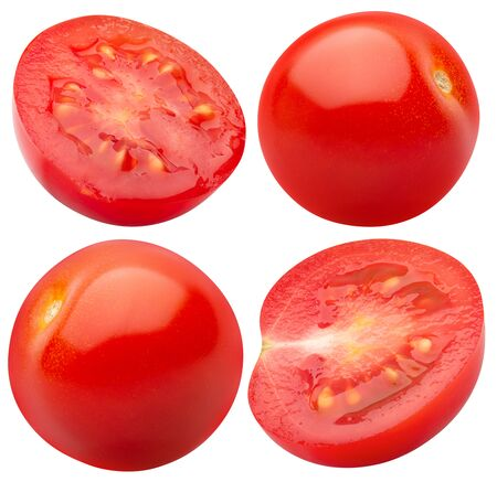 set of tomatoes isolated on a white background.