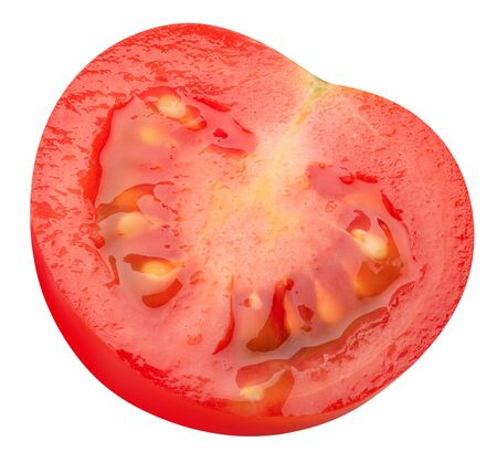 half of tomato isolated on a white background.