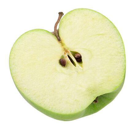 half of green apple isolated on a white background.
