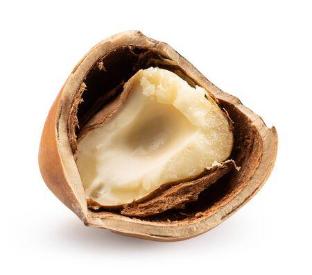broken hazelnut isolated on a white background.