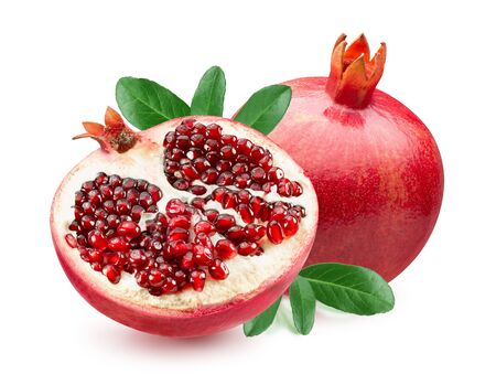 pomegranate with half of pomegranate and leaves isolated on a white background. Reklamní fotografie