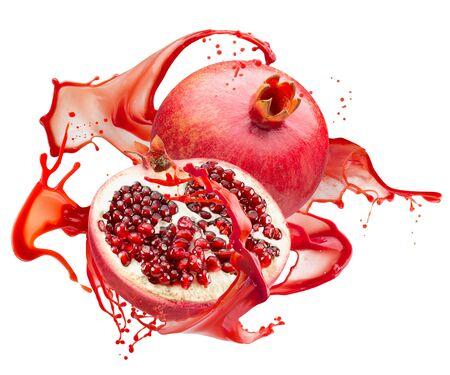 pomegranates in red juice splash isolated on a white background.