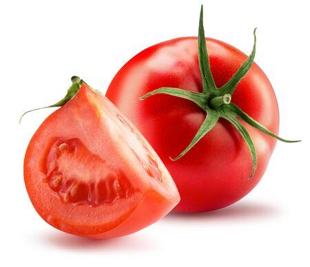 tomate avec tranche isolé sur fond blanc. Banque d'images